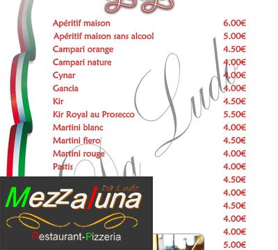 restaurant mezzaluna - Nouvelle carte